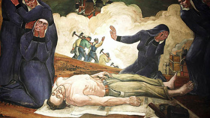 """Immigrant Mothers Raise their Sons for American Industry,"" among 22 murals painted in 1937 and 1941 by Maxo Vanka in St. Nicholas Croatian Catholic Church, Millvale, was inspired by an actual Western Pennsylvania mining accident."