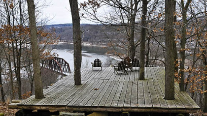 This outdoor patio overlooks the Clarion River joining the Allegheny River.