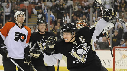 Sidney Crosby and the Penguins will face the rival Flyers in the first regular season game at Consol Energy Center Oct. 7.