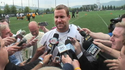 Steelers quarterback, Ben Roethlisberger talks to the media at the Steelers' South Side facility Thursday.