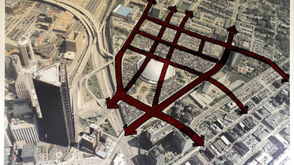 An overlay of the former street grid of the Mellon Arena site, which sits in the Lower Hill District.