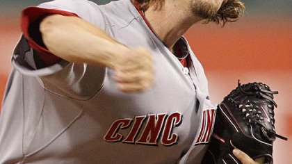 Reds pitcher Mike Leake throws in the first inning.