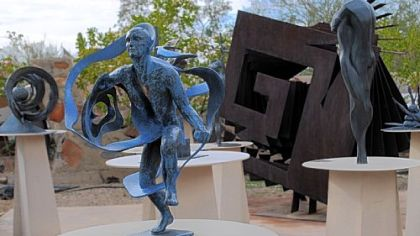 A garden of sculpture by Heloise Crista decorates Taliesin West in Scottsdale. This cast-bronze piece (1996)  is entitled &quot;Alchemy.&quot;