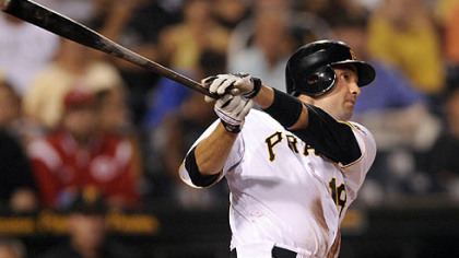 The Pirates Neil Walker hits a bases-clearing double in the second inning.
