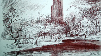 Cathedral of Learning drawing by Maxo Vanka.