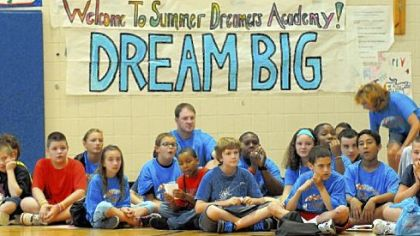 "Youngsters watch skits during a morning ""pep rally"" to start the day in the gym of Pittsburgh South Brook."