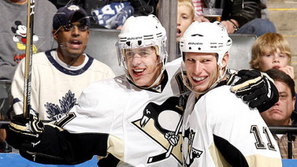 Penguins forwards Evgeni Malkin and Jordan Staal.