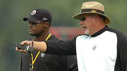 Steelers head coach Mike Tomlin, left, and offensive coordinator Bruce Arians.