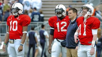 Matt McGloin, right, with quarterbacks coach Jay Paterno.