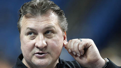 West Virginia coach Bob Huggins looks on during a practice in Buffalo, N.Y., Thursday, March 18, 2010.