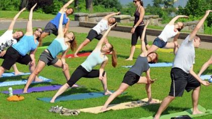 Lori Grabel teaches Breathe Yoga's outdoor class in Mt. Washington's Grandview Park overlooking Downtown Pittsburgh.