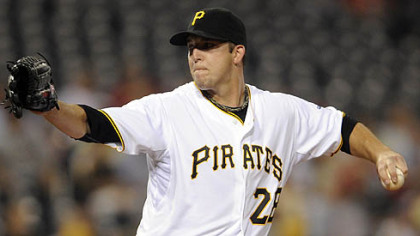 The Pirates' Paul Maholm pitches.