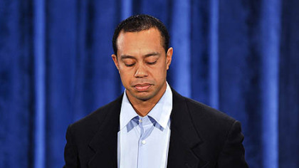 Tiger Woods makes a statement at the Sawgrass Players Club in Ponte Vedra Beach, Fla, Friday.