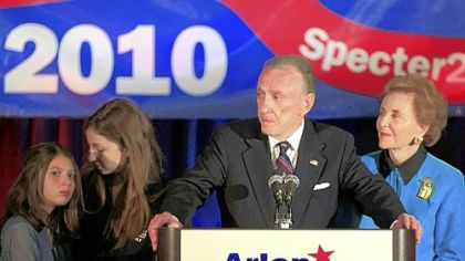 Sen. Arlen Specter, D-Pa., concedes the primary race, addressing supporters gathered in Philadelphia last night. At Specter's side is his wife Joan, right, and granddaughters Perri Specter, left and Silvi Specter.