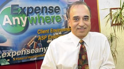 Ashok Dhar, founder and CEO of ExpenseAnywhere, in his office in Monroeville.