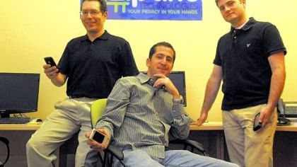 From left: Norman Sadeh, chief scientist, CEO Ziv Baum and Jay Springfield, software developer of Zipano, a tech company that specializes in online privacy.