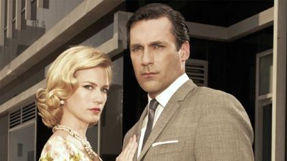 "Betty Draper (January Jones) and Don Draper (Jon Hamm) on AMC's ""Mad Men."""