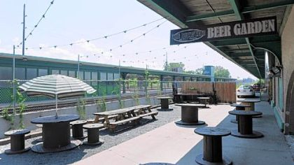 The beer garden at The Brewerie at Union Station in Erie.