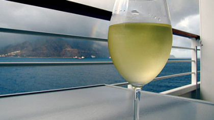 Crystal Serenity's penthouse decks include private balconies with views like this one of Funchal, Madeira.