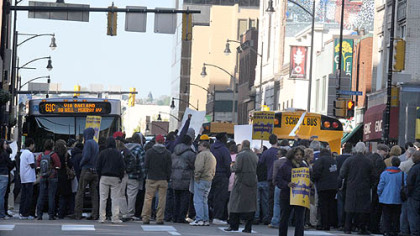 Some 300 people took part in the Forbes Avenue protest.