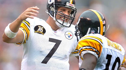 Steelers quarterback Ben Roethlisberger and former wide receiver Santonio Holmes.