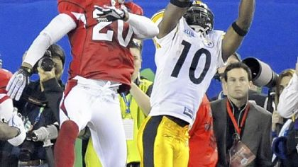 The Steelers' Santonio Holmes' toe-tapping, game-winning touchdown in Super Bowl XLIII, the play of the decade.