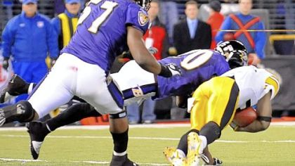With 43 seconds left to play, the Steelers' Santonio Holmes makes the controversial touchdown catch that won a 2008 game against the Ravens in Baltimore, 13-9, and clinched the AFC North Division championship for Pittsburgh, as well as a first-round bye in the playoffs.