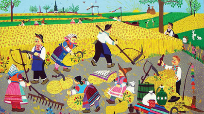 "Workers till the soil in this work by Zuzana Chalupova, who  laid down her needle and thread and started painting at the age of 40. UNICEF has reproduced her work in greeting cards. She is also known as ""Mama Zuzana."""