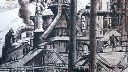 Johnstown steel mill drawing by Maxo Vanka.