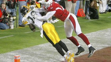 Pittsburgh Steelers wide receiver Santonio Holmes's 6-yard touchdown catch in Super Bowl XLIII -- one of the greatest finishes in Super Bowl history.