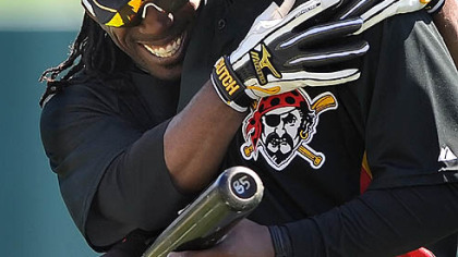 Pirates outfielders Andrew McCutchen (left) and Lastings Milledge.