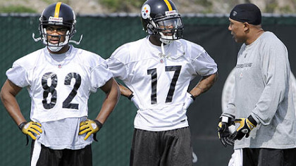 Steelers wide receivers Antwaan Randle El, left, and Mike Wallace, center, and Hines Ward.