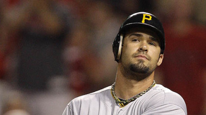 The Pirates&#039; Garrett Jones flips his bat after being struck out by Reds reliever Daniel Ray Herrera with the bases loaded to end the eighth inning Wednesday at Great American Ball Park.