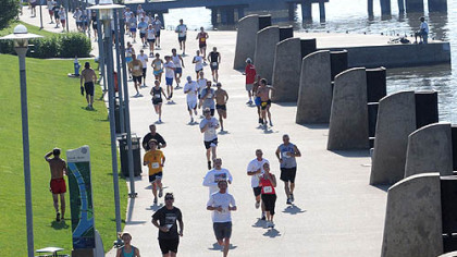 Runners head for the finish for the 10k run in the 8th Annual Father's Day 5k/10k Run and Walk for Prostate Cancer on Sunday.