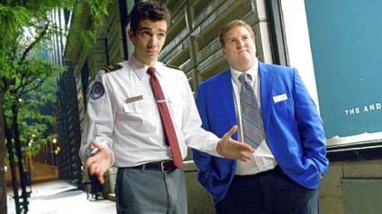 Jay Baruchel as Kirk, left, and Nate Torrence as Devon are former high school buddies who work as TSA agents in the comedy &quot;She&#039;s Out of My League.&quot;