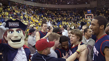 Robert Morris players and fans celebrate.