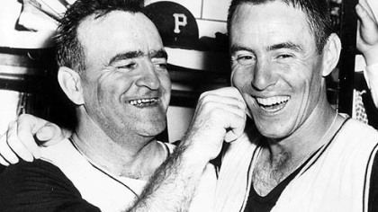 Danny Murtaugh congratulates Bill Mazeroski after 1960 World Series victory.