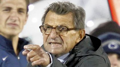 Penn State coach Joe Paterno disagrees with a side judge during a game against Michigan in October. Penn State won 41-31.