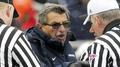 Penn State coach Joe Paterno has a word with the officials during the fourth quarter of Saturday&#039;s game at Beaver Stadium in University Park, Pa.