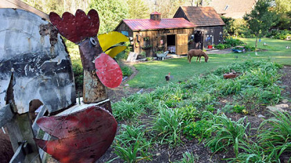 Metal objects provide decoration in Nada and Fred Sarkin&#039;s garden.