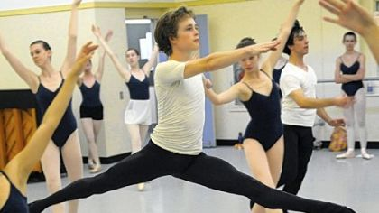 Senior Cameron Clark, 18, runs through a routine during a dance class at the Pittsburgh Ballet Theatre School.