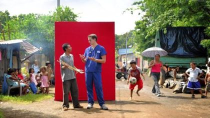 In one new Robert Morris TV commercial, nursing student Lee Folk, who has since graduated, is pictured in a Nicarauguan barrio next to a teen from that country. Mr. Folk was in Nicaraugua for a clinical study program in nursing.