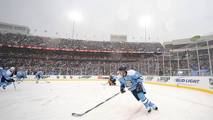 Forward Sidney Crosby and the Penguins played in the 2008 Winter Classic at Ralph Wilson Stadium in Orchard Park, N.Y.