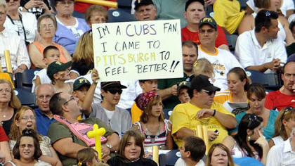 A fan shows his feelings about the Pirates clinching another losing season, Friday at PNC Park.