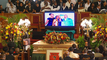A video remembrance is during Jeron&#039;s funeral.