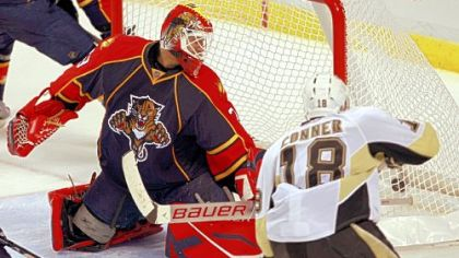 Chris Conner scores the winning goal against Florida Panthers goalie Tomas Vokoun late in the third period Monday night.