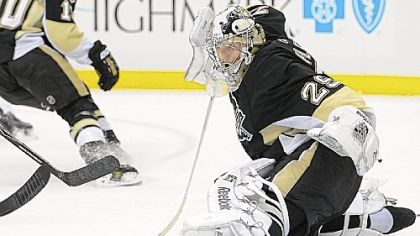 Marc-Andre Fleury makes a save against the Flyers in the second period at Consol Energy Center.