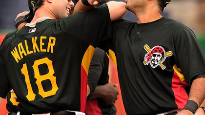 Pirates infielders Pedro Alvarez and Neil Walker.