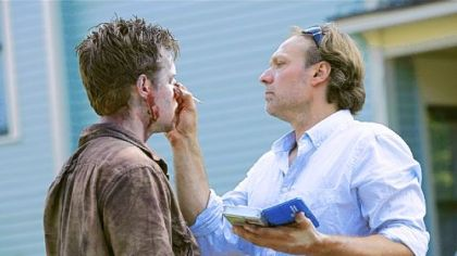 Greg Nicotero designs a zombie&#039;s face on &quot;The Walking Dead.&quot;