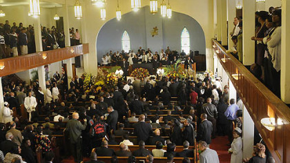 Mourners filled the main floor and balconies at the Wesley Center AME Zion Church.